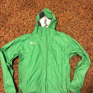 Green men's North Face rain jacket